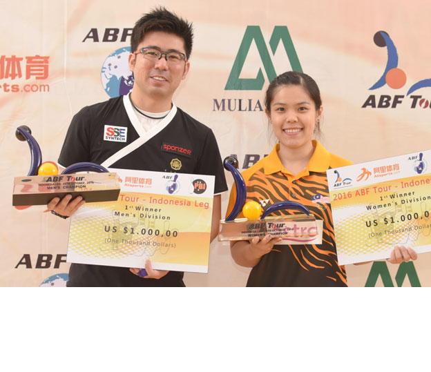 <a class='boldnavtext' href='results/abf-indo16.htm#Day1'>Malaysia, Singapore wins last leg</a><span class='plaintext'><br><b>24th October, Jakarta</b>: Esther Cheah of Malaysia and Remy Ong of Singapore captured the Women's<br>and Men's titles of final leg of 2016 ABF Tour to secure their places in the Tournament of Champions<br>at Jaya Ancol Bowling Centre on Monday.